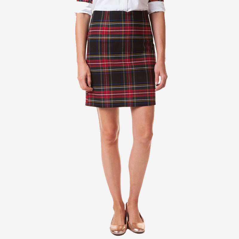 Castaway Ali Twill Skirt Black Stewart Plaid