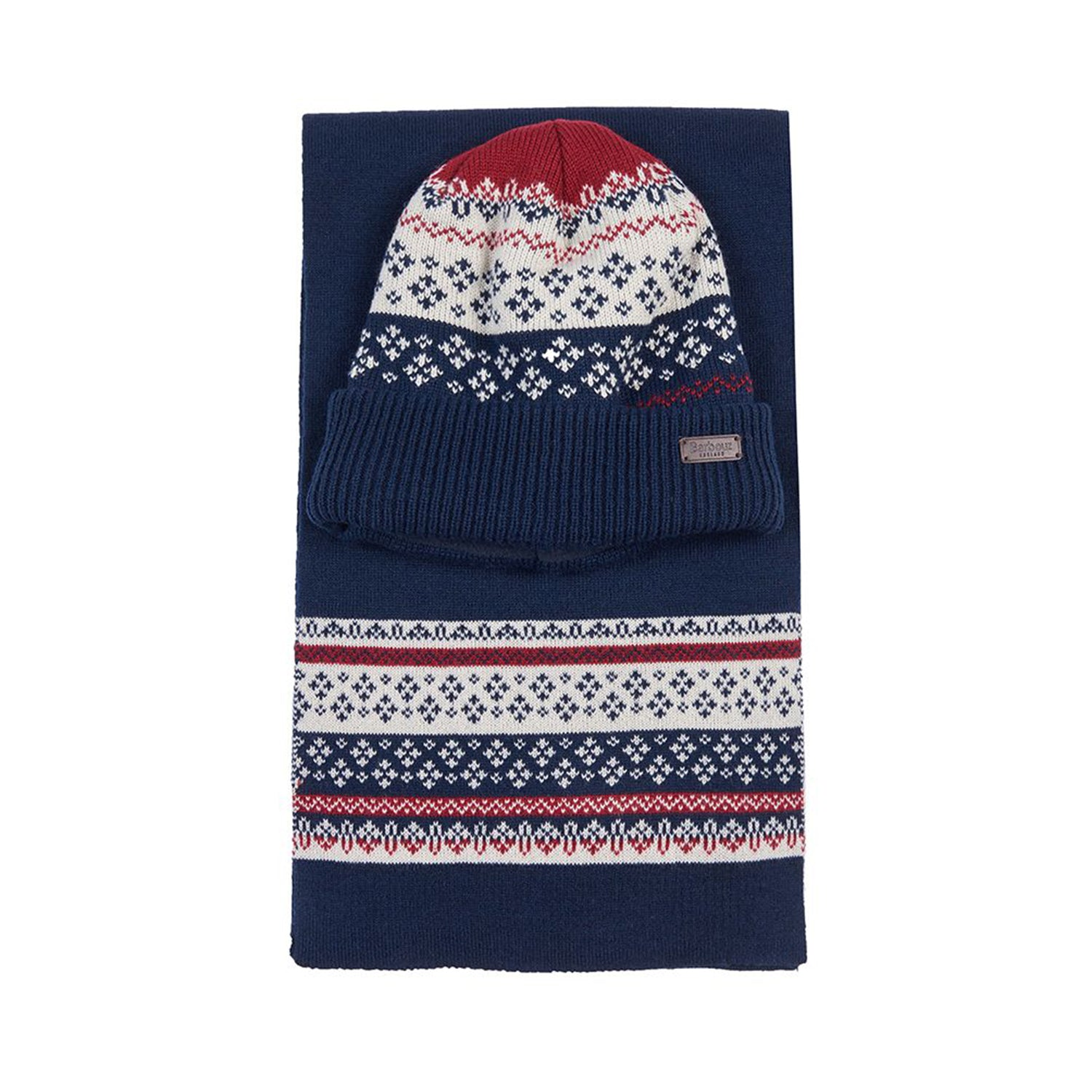Barbour Fairisle Beanie & Scarf Gift Set Navy Red Ecru