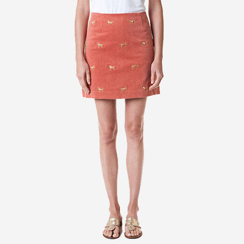 Castaway Ali Skirt - Nantucket Red With Golden Retriever 17""