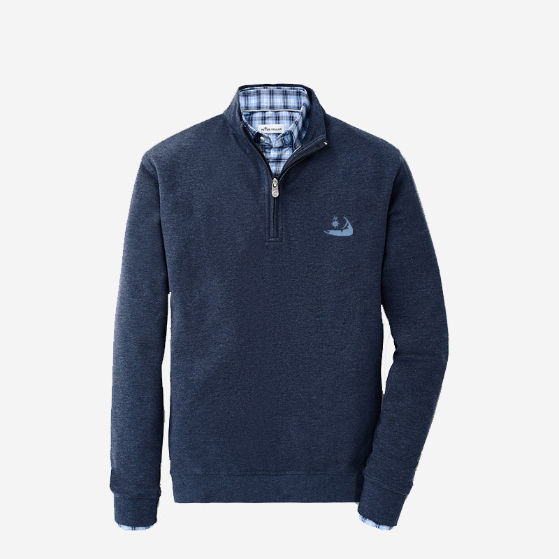 Peter Millar Nantucket Crown Comfort Interlock Quarter-Zip Navy