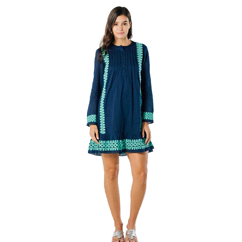 Sail to Sable Embroidered Dress Navy