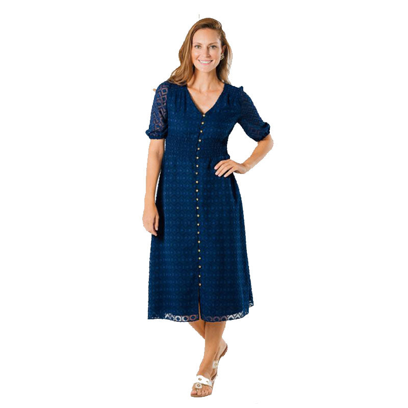 Sail to Sable Button Front Midi Dress Navy