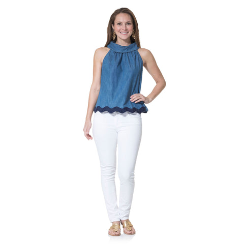 Sail to Sable Chambray Cowl Neck Top