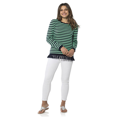 Sail to Sable Stripe Tassel Sweater - Navy/Green