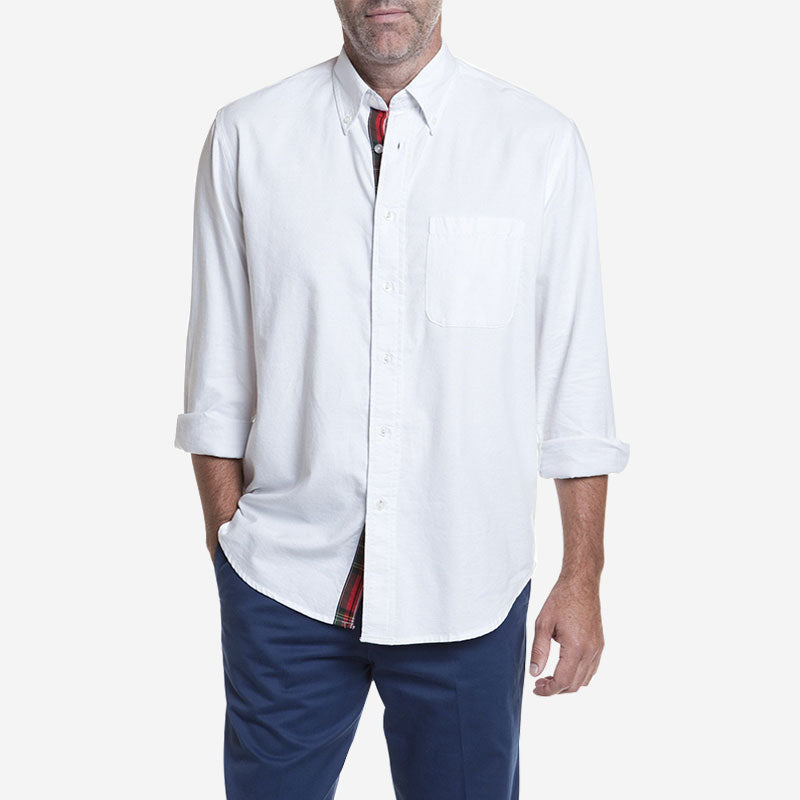 Castaway Chase Shirt White with Royal Stewart Trim