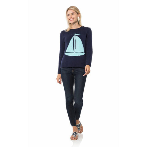 Sail to Sable Long Sleeve Intarsia Sweater Sailboat Navy
