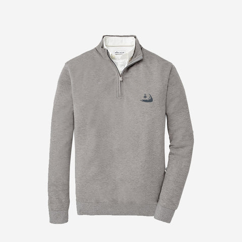 Peter Millar Nantucket Crown Comfort Interlock Quarter-Zip Light Grey