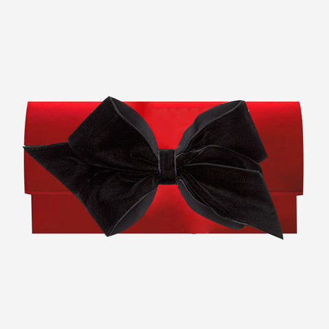 Peachy Pendants Cambridge Clutch Red with Black Velvet Bow