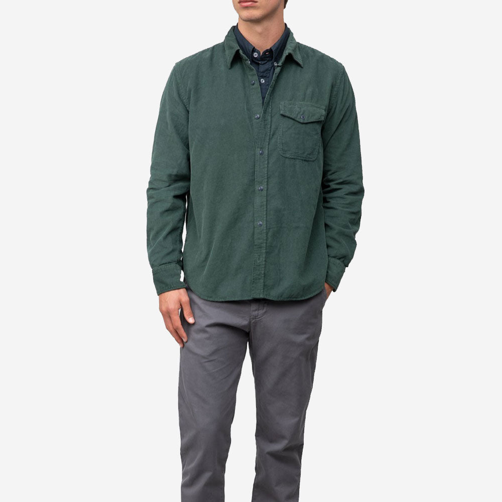 Save Khaki United 16 Wale Corduroy Overshirt Kale