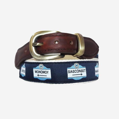 YRI Men's Ribbon Belt - Nantucket Signs on Natural Webbing