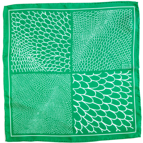 Seth B Minkin Emerald Scales Pocket Square