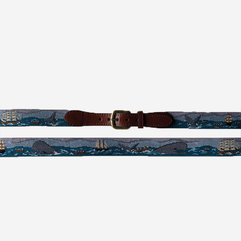 Smathers & Branson Nantucket Sleigh Ride Needlepoint Belt