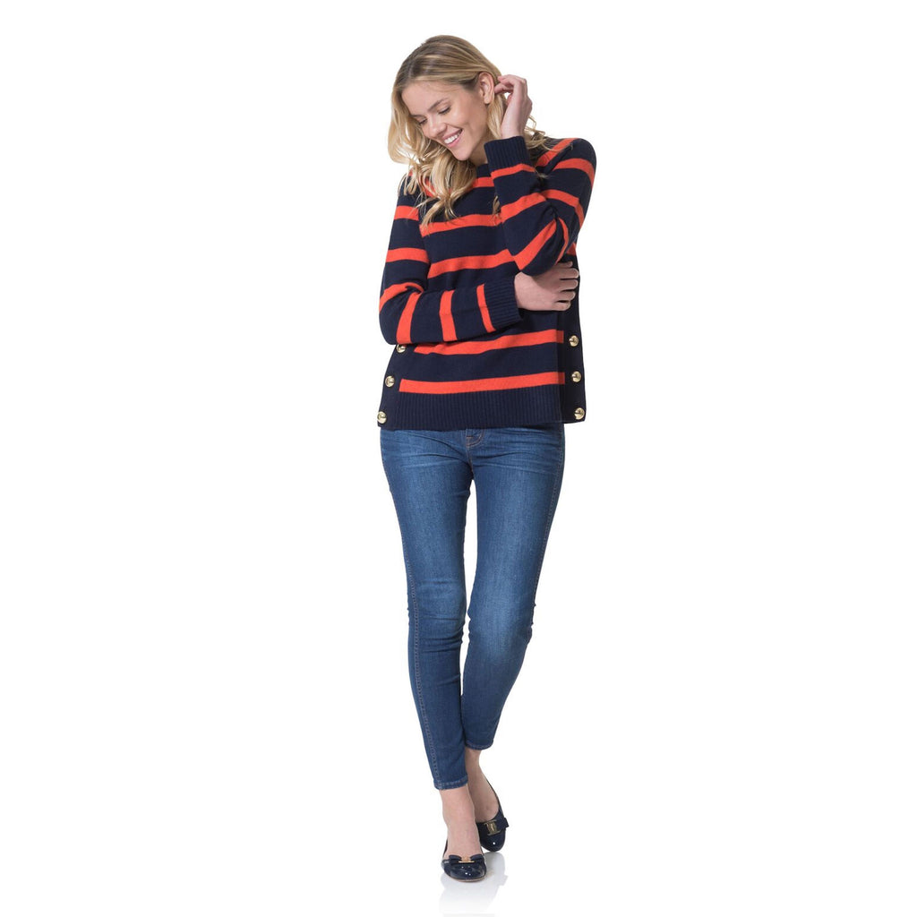 Sail to Sable Merino Wool Long Sleeve Stripe Sweater Navy Apple