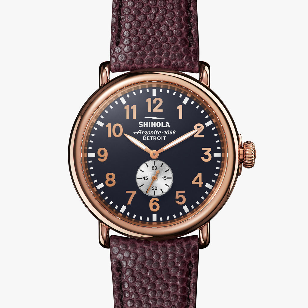 Shinola The Runwell 47mm Midnight Blue Watch Dark Oxblood Football Leather Strap