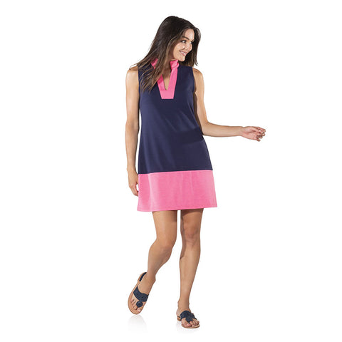 Sail to Sable Sleeveless Color block Dress Navy