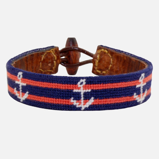 Smathers & Branson Striped Anchor Needlepoint Bracelet - Dark Navy/Melon