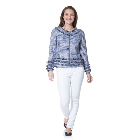 Sail to Sable Tweed Zip Up Short Jacket Navy Cream