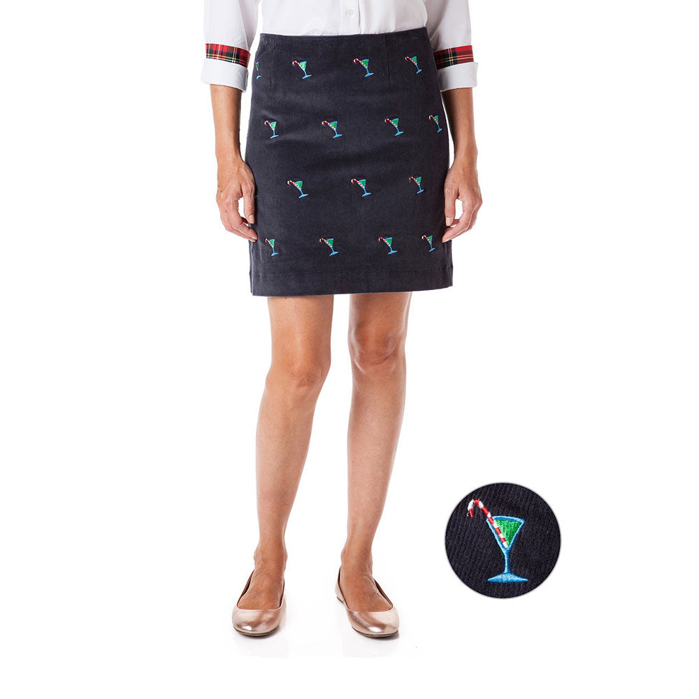 Castaway Ali Corduroy Skirt Nantucket Navy with Martini Candy Cane