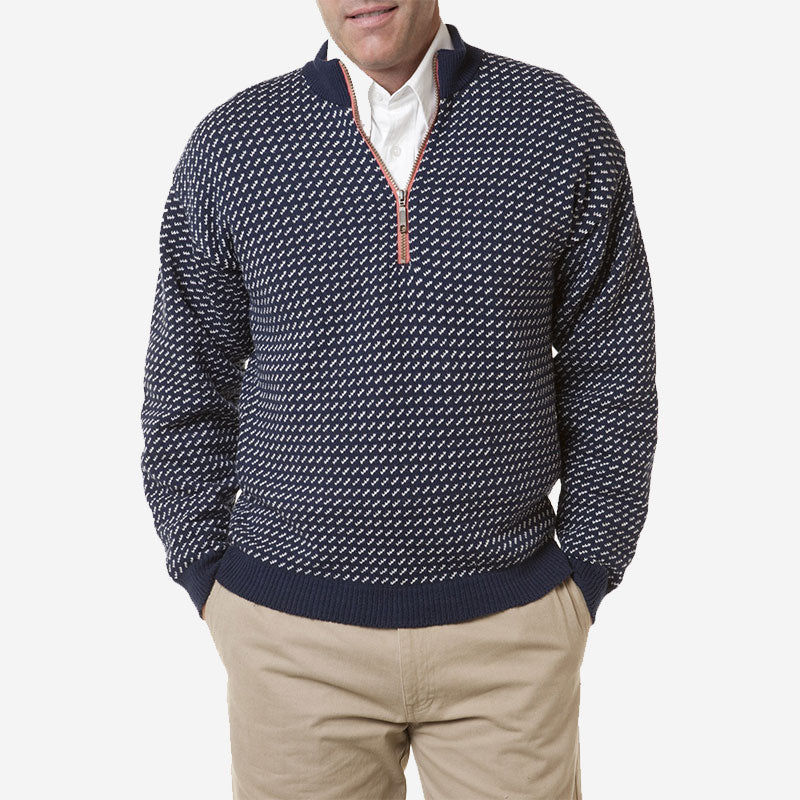 Castaway Birdseye Quarter Zip Sweater Navy