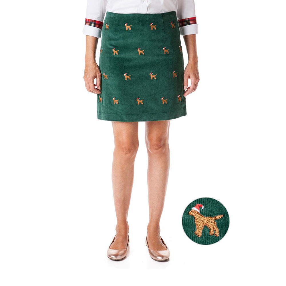 Castaway Ali Corduroy Skirt Hunter with Santa Dog