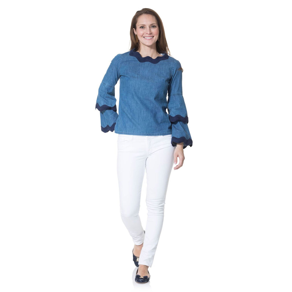 Sail to Sable Chambray Double Bell Sleeve Top