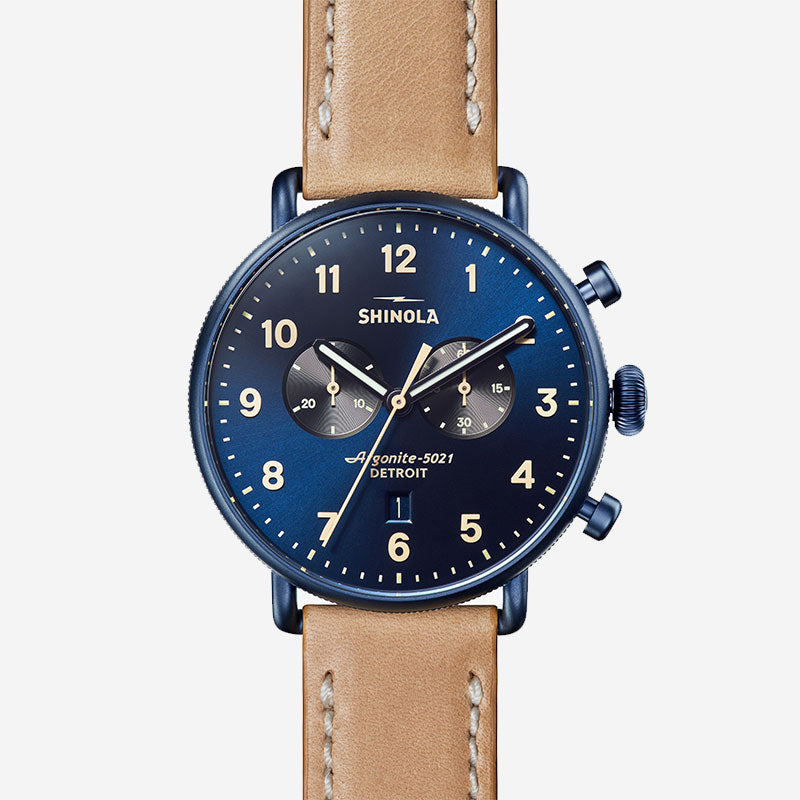 Shinola The Canfield Chrono 43mm Men's Sandblasted Blue Watch Natural Leather Strap
