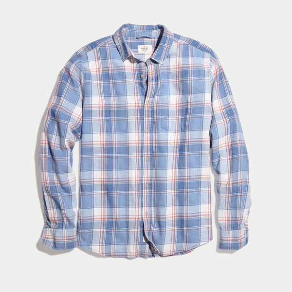 Marine Layer Ashland Button Down Indigo Multi Plaid