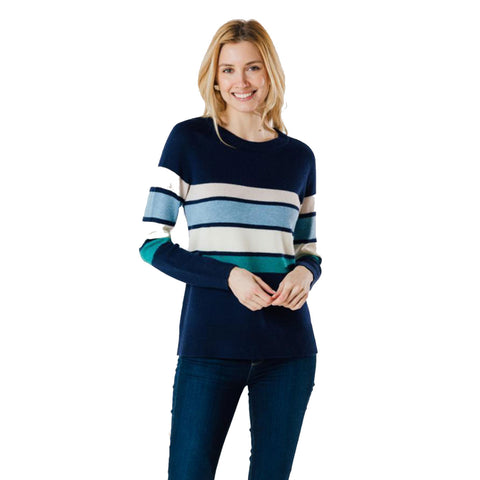 Sail to Sable Long Sleeve Stripe Sweater Navy