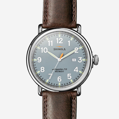 Shinola The Runwell 47mm Men's Slate Blue Watch - Deep Brown Leather Strap