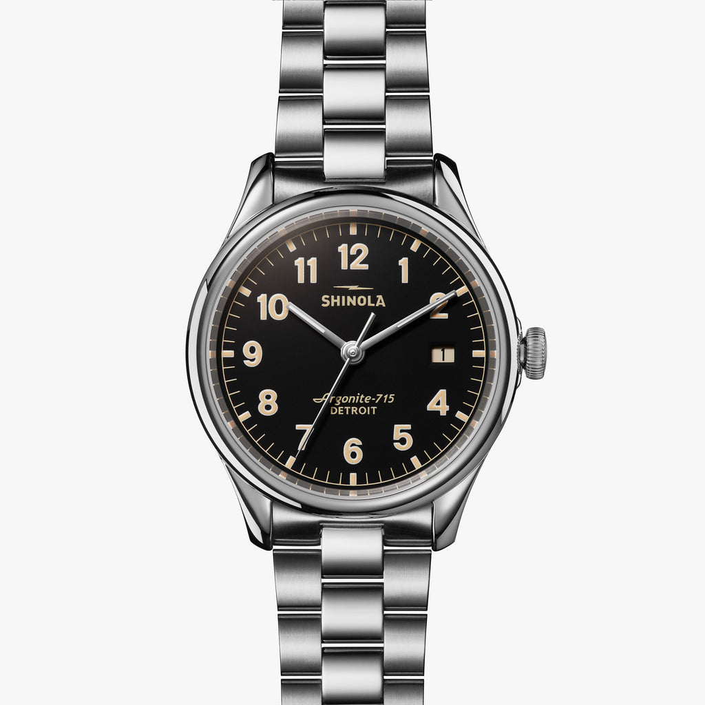 Shinola The Vinton 38mm Black Watch Brushed Stainless Steel Bracelet