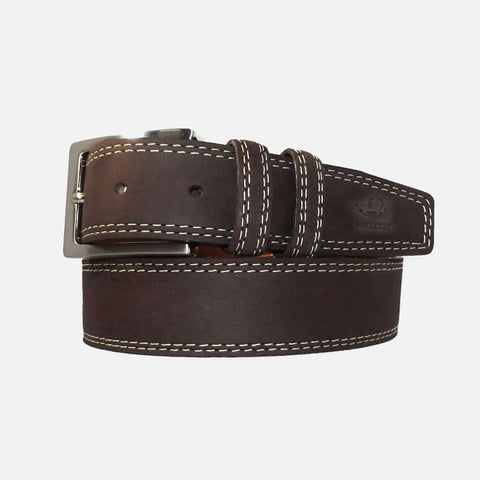 YRI Men's Nubuck Suede Leather Belt - Brown