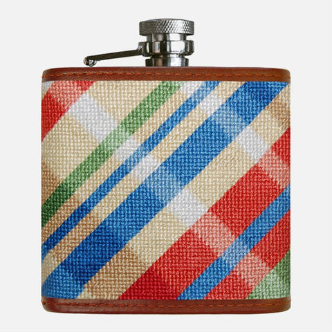 Smathers & Branson Summer Madras Needlepoint Flask
