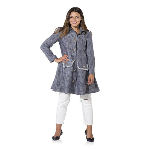 Sail to Sable Tweed Button Up Fit & Flare Coat Navy