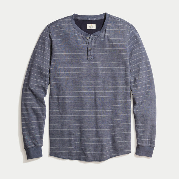 Marine Layer Double Knit Striped Henley Black Iris White Stripe