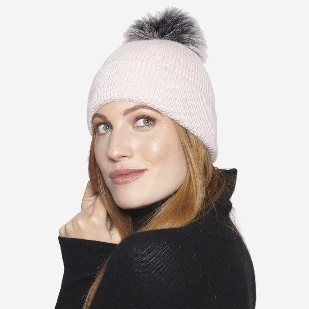 Linda Richards Angora Blend Hat with Genuine Fur Pom Pom