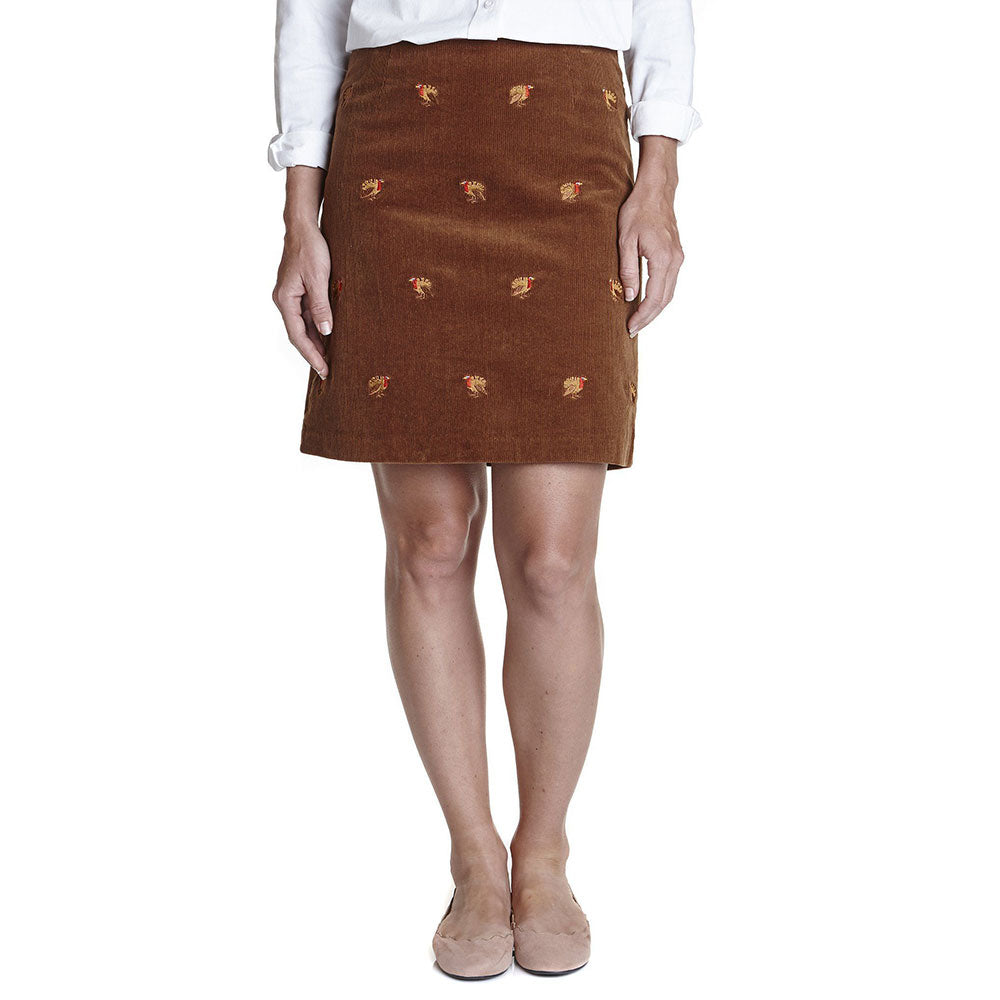 Castaway Ali Corduroy Skirt Chocolate with Turkey