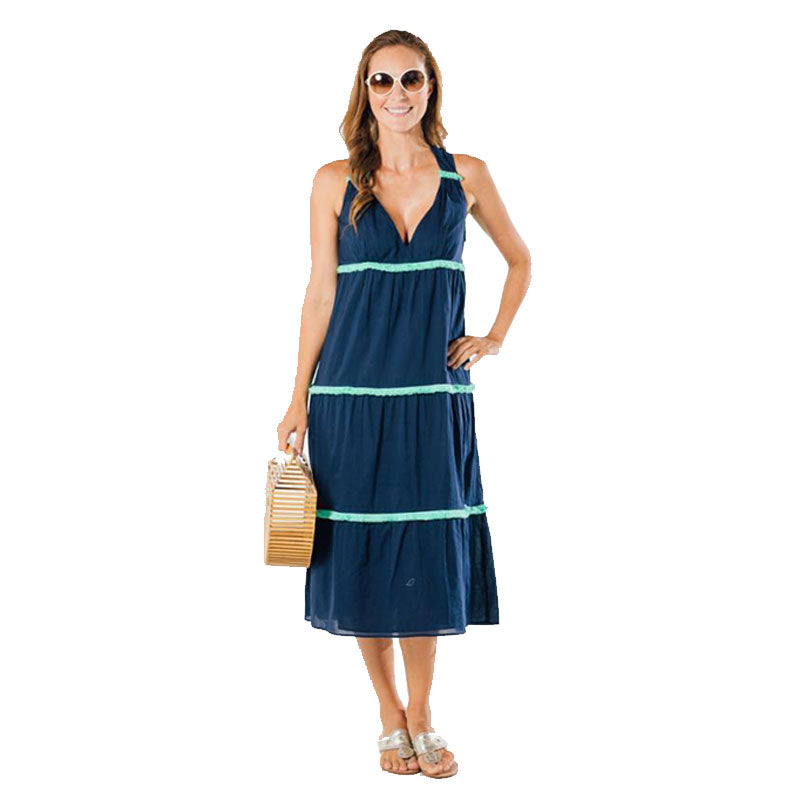 Sail to Sable Tiered Midi Dress Navy