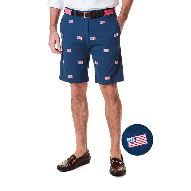 Castaway Cisco Stretch Twill Short Nantucket Navy with American Flag