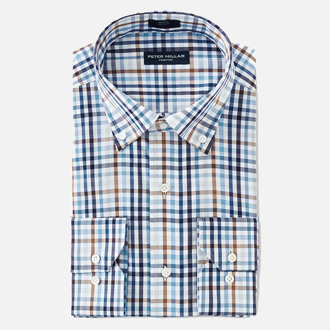 Peter Millar Collection Chukka Multi-Color Check Sport Shirt Blue Cielo