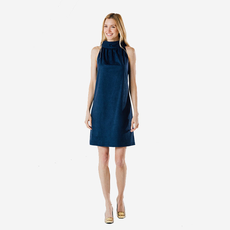 Sail to Sable Cowl Neck Dress Navy