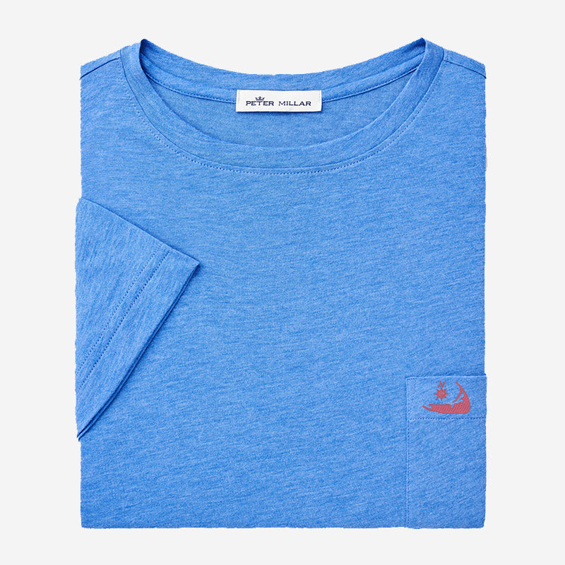 Peter Millar Mens Seaside Summer Soft Pocket Tee -Lazuline with Island Logo