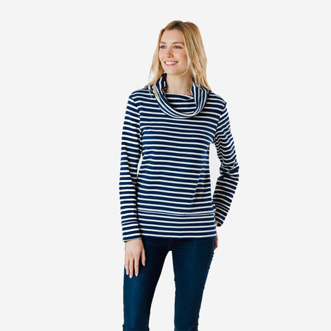 Sail to Sable Cowl Neck Pullover Navy Ivory