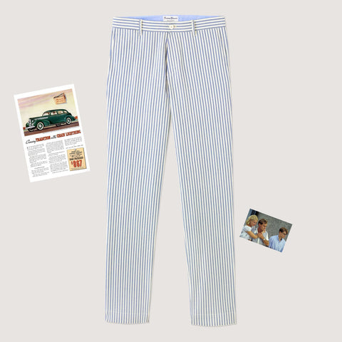 Rowing Blazers Milk & Sugar Seersucker Pants - Blue