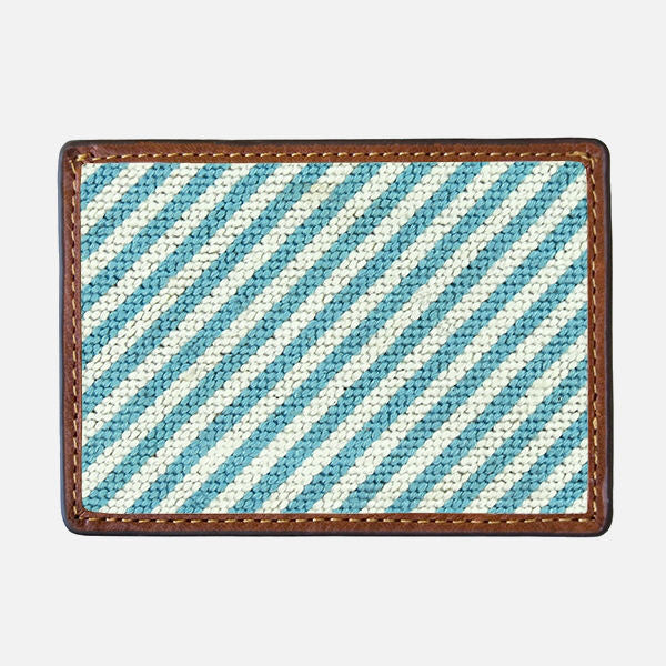 Smathers & Branson Blue Seersucker Needlepoint Card Wallet