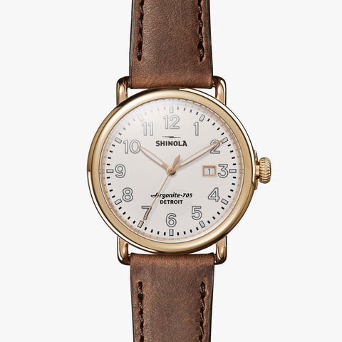 Shinola The Runwell 41mm Cream Watch British Tan Grizzly Leather Strap