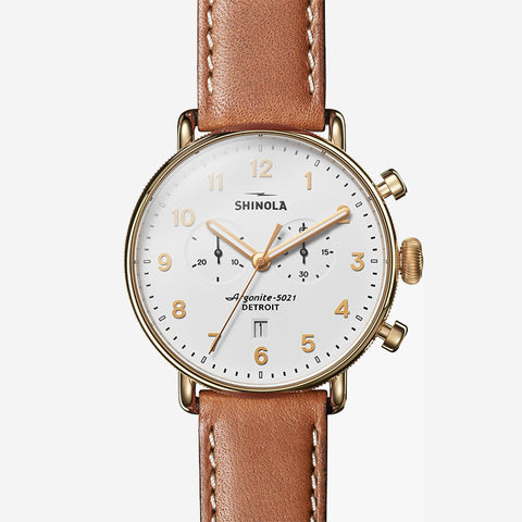 Shinola The Canfield 43mm Men's White Watch Tan Beaumont Leather Strap