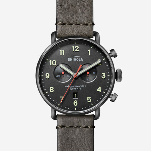 Shinola The Canfield Chronograph 43mm Men's Gunmetal Watch Stone Leather Strap