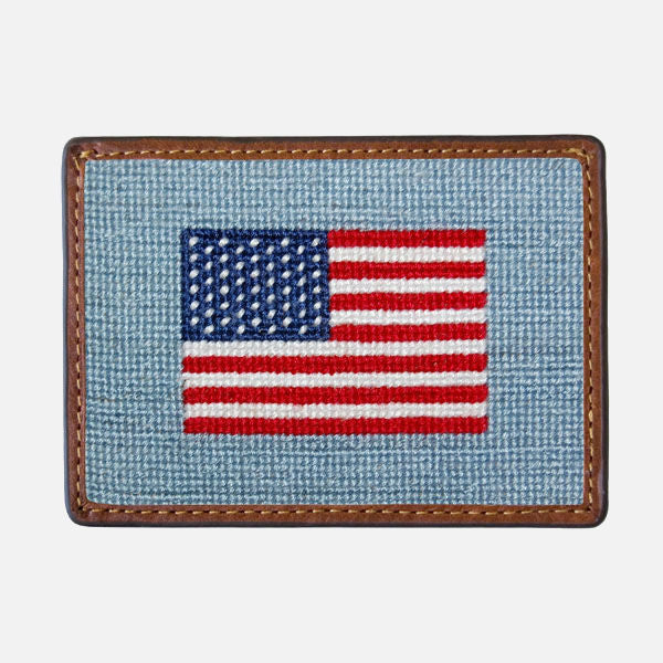 Smathers & Branson Needlepoint Card Wallet - American Flag (Antique Blue)