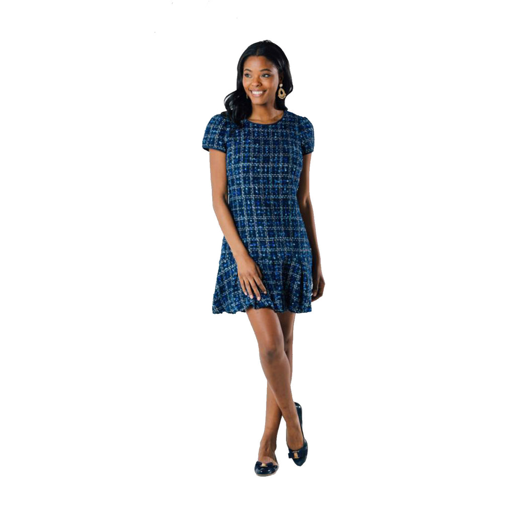 Sail to Sable Short Sleeve Boxpleat Dress Navy Blue Tweed