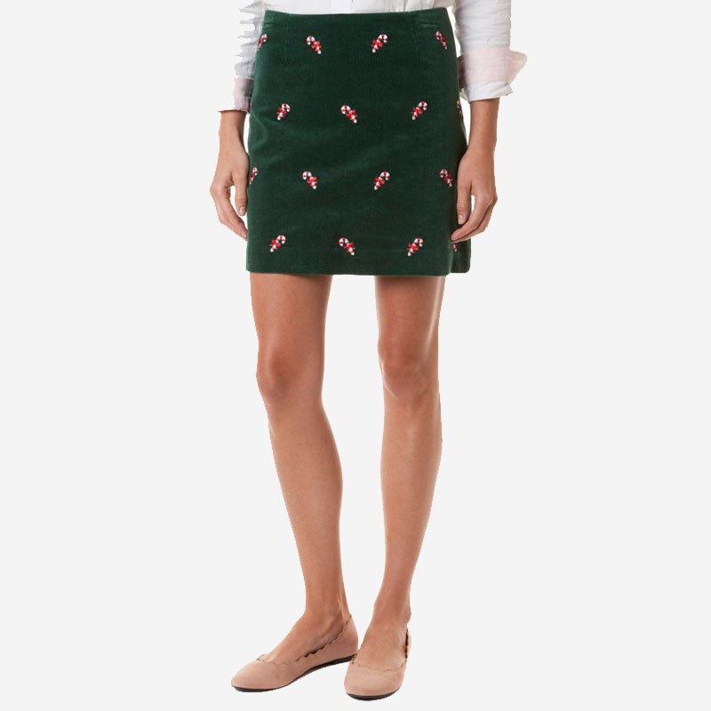 Castaway Ali Corduroy Skirt Hunter with Candy Cane